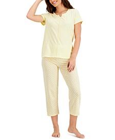 Crochet-Trim Top & Capri Pants Pajama Set, Created for Macy's
