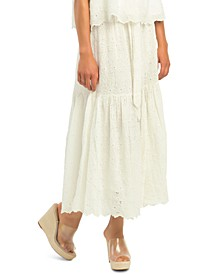 Petite Embroidered Eyelet Tiered Floral A-Line Skirt