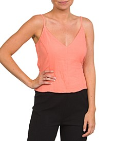 Cotton Natural Tie Cropped Tank
