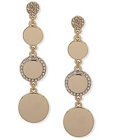 Gold-Tone Pavé Disc Linear Earrings
