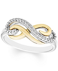 Diamond Infinity Ring (1/10 ct. t.w.) in Sterling Silver & 10k Gold