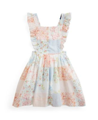 폴로 랄프로렌 Polo Ralph Lauren Little Girls Patchwork Poplin Dress,White Multi