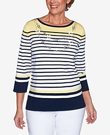 Women's Missy Lazy Daisy Engineered Stripe with Necklace Sweater