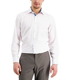Men's Slim-Fit Non-Iron Performance Stretch Dot-Print Dress Shirt with Pleated Face Mask