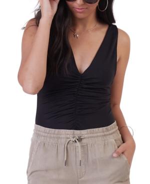 Ruched-Front Knit Bodysuit