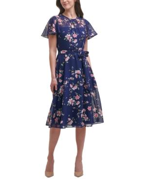 Belted Flutter-Sleeve Dress