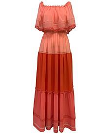 Lace-Trim Capelet Dress