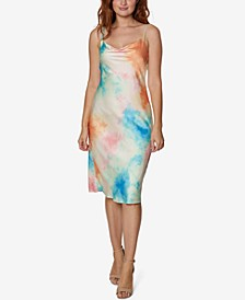 Tie-Dyed Jersey Cowlneck Dress