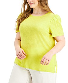 Plus Size Cotton Puff-Sleeve T-Shirt, Created for Macy's