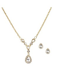 Gold-Tone 2-Pc. Set Vintage-Look Crystal Pendant Necklace & Matching Stud Earrings, Created for Macy's