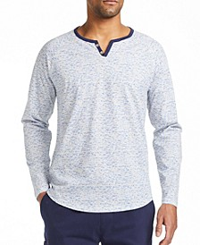 Men's Slim Fit Texture Print Henley T-shirt and a Free Face Mask