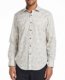 Men's Slim Fit Pine Print Shirt and a Free Face Mask