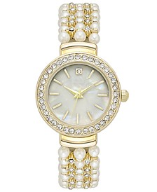 Women's Crystal Gold-Tone Imitation Pearl Bracelet Watch 28mm, Created for Macy's