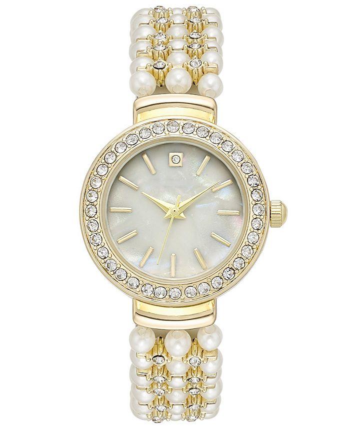 Charter Club - Women's Crystal Gold-Tone Imitation Pearl Bracelet Watch 28mm