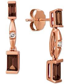 Chocolate Quartz (1/2 ct. t.w.) & Nude Diamond Accent Drop Earrings in 14k Rose Gold