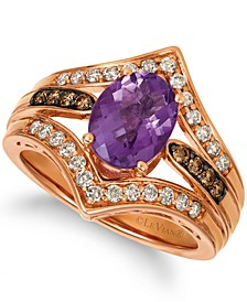 Grape Amethyst (1-1/2 ct. t.w.) & Diamond (1/2 ct. t.w.) Statement Ring in 14k Rose Gold