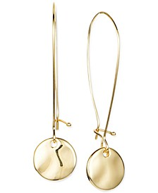 Gold-Tone Hammered Disk Linear Drop Earrings, Created for Macy's