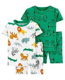 Baby Boys Safari Cotton Pajamas, 4 Pieces