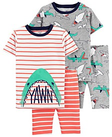 Little Boys Shark Loose Fit Pajamas, 4 Pieces