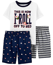 Little Boys Sushi Loose Fit Pajamas, 3 Pieces