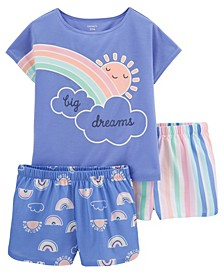 Little Girls Rainbow Loose Fit Pajamas, 3 Pieces