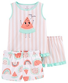 Little Girls Watermelon Loose Fit Pajamas, 3 Pieces