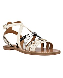 Women's Cane Strappy Flat Sandals