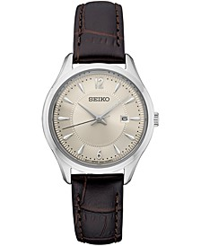Women's Essential Brown Leather Strap Watch 39mm