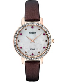 Women's Solar Crystal Burgundy Leather Strap Watch 30mm