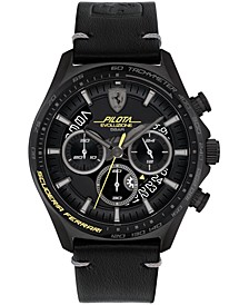 Men's Chronograph Pilota Evo Black Leather Strap Watch 44mm