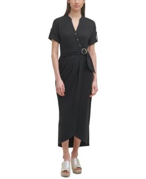 Karl Lagerfeld Belted Midi Knit Dress In Black