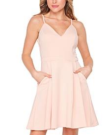 Juniors' Solid Sleeveless V-Neck Pocket Dress
