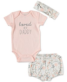 Baby Girls 3-Pc. Loved By Daddy Cotton Bodysuit, Printed Shorts & Headband Set