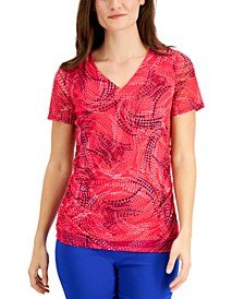 Printed Mesh V-Neck Top, Created for Macy's