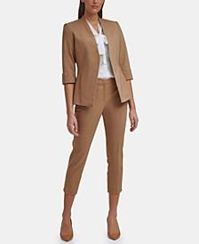 Asymmetrical Jacket, Tie-Neck Blouse & Ankle Pants