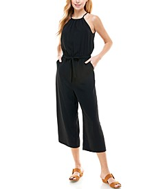 Juniors' Solid Cropped Keyhole-Back Jumpsuit