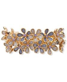 Gold-Tone Multi-Crystal Flower Cluster Hair Barrette