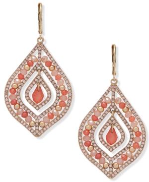 Gold-Tone Pave & Stone Beaded Orbital Chandelier Earrings