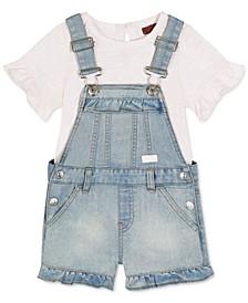 Baby Girls Two-Pc. Top & Denim Shortalls Set
