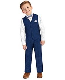 Little Boys Blue Heather Poplin Vest, 5-piece Set