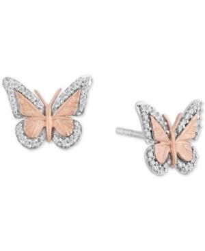 Diamond Butterfly Stud Earrings (1/7 ct. t.w.) in Sterling Silver & 14k Rose Gold