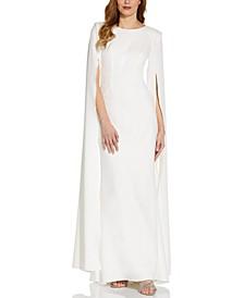 Split-Sleeve Crepe Gown