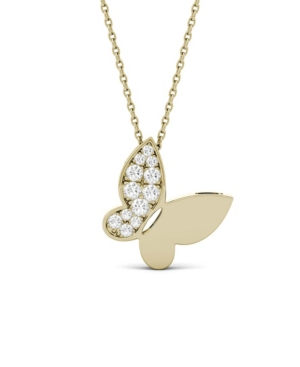 Moissanite Butterfly Pendant 1/6 ct. t.w. Diamond Equivalent in 14k White or Yellow Gold