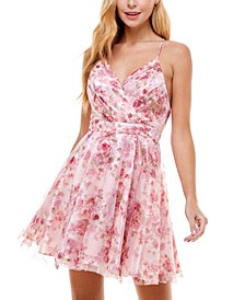 Juniors' Floral Tulle Dress