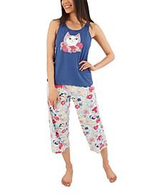 Flower Kitty Capri Pajama Set