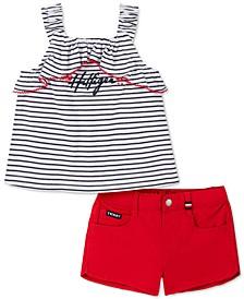 Baby Girls 2-Pc. Striped Top & Denim Shorts Set