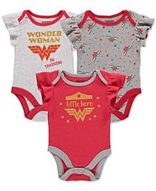 Baby Girls 3-Pack Wonder Woman Bodysuits Set