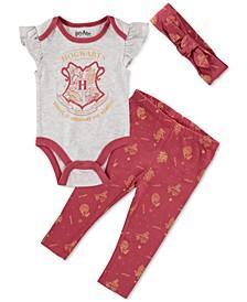 Harry Potter Baby Girls 3-Pc. Bodysuit, Leggings & Headband Set