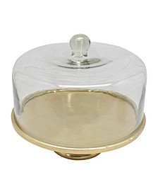 """12.5""""D Hammered Gold Cake Plate with Glass Dome"""