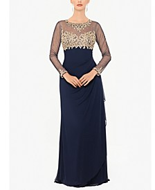 Embellished Petite Ruched Gown